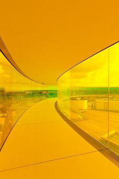 Your Rainbow Panorama, a Rainbow-coloured glass walkway on the roof of the Danish art museum ARoS Aarhus Kuntsmuseum, by Danish-Icelandic artist Olafur Eliasson. Opened 28 May, 2011 Yellow Aesthetic Pastel, Rainbow Aesthetic, Aesthetic Colors, Mellow Yellow, Neon Yellow, Yellow Art, Colour Yellow, Pastel Yellow, Mustard Yellow