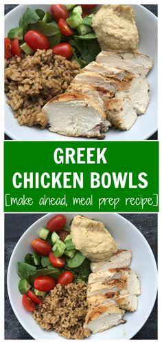 Greek chicken bowls make a delicious one-bowl meal that is packed with fresh, Greek flavors and is easily customizable depending on your family's favorite veggies! Herb Recipes, Lunch Recipes, Healthy Dinner Recipes, Healthy Lunches, Good Healthy Recipes, Real Food Recipes, Slow Cooked Chicken, Greek Chicken, Easy Weeknight Dinners
