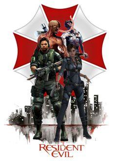 """Chris & Jill - Resident Evil"" by girlinthebigbox on Polyvore featuring art"