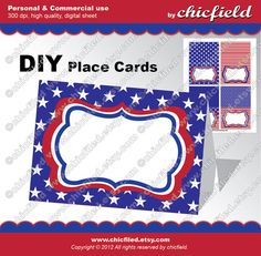 INSTANT DOWNLOAD Red, White & Blue Printable Place Cards $2.90