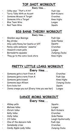 Favorite TV Show Workouts. You decide the numbers. I can only do Big Bang Theory and Dance Moms from this list but I'll make one of my own! Tv Show Workouts, Running Workouts, Fun Workouts, Physical Fitness, Yoga Fitness, Fitness Tips, Fitness Motivation, Daily Exercise Routines, Body Hacks