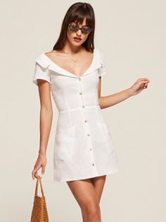 Ford button up foldover collar mini dress white Reformation