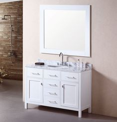 48 Inch Traditional Single Sink Bathroom Vanity Carrera White Top