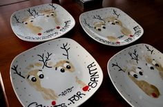 """Golden Reindeer feet """"Cookies for Santa"""" Plates"""
