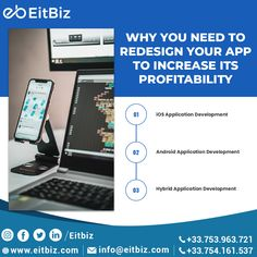 These days' smartphones have a number of apps that come with limitless advantages and these advantages help in keeping people addicted to the apps. Transform your existing mobile app with a complete makeover to increase business potential. Explore EitBiz, to know about mobile apps and their design criteria? #mobileapps #mobileappdevelopers #appsdesign #mobileappdesigns Android Application Development, Mobile Application, Software Development, Mobile Web Design, App Design, Custom Website Design, Ecommerce Solutions, Digital Marketing Services, Design Agency