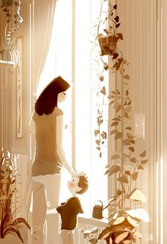 Mom, I love you. _You are the most bestest mom in the whole wild world. Mom, I love you. Mom Son, Mother And Child, Art And Illustration, Illustrator, Pascal Campion, Art Anime, Mothers Love, American Artists, My Love