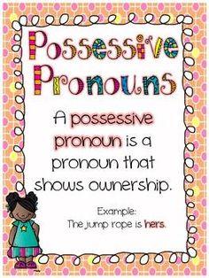 Parts of Speech....Possessive Pronouns {Free Download}