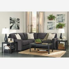 2pc Charcoal Sectional with LAF at American Furniture Warehouse