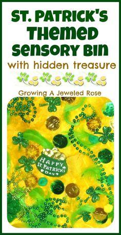 St. Patrick's inspired sensory bin with hidden treasure