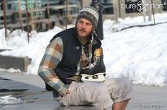 Travis Fimmel on the set for Maggie's Plan which was filmed in NYC earlier this year.