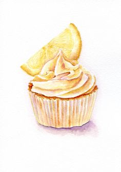 Limoncello Cupcake - ORIGINAL Painting (Vintage Style Still Life, Kitchen Wall Art, Watercolour Food Illustration) 5x7 in