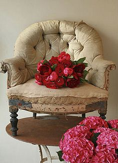 Love the old de-constructed french chair, just the way it is!!!.