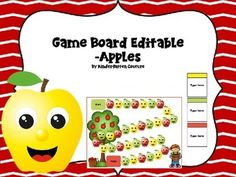 Students will love playing games that you create for them using  this apple theme game board with editable cards.  It is perfect for creating games to practice math or literacy skills. Type letters, sight words, phonics patterns, math problems, missing numbers and more right on the card.