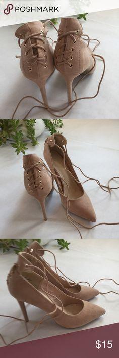 "Anne Michelle Lace Up Suede Pumps NWOB. Beige Heels. 4"" Heel. Never worn but 2 small spots the size of dots on right toe. See last image. Size 8 Anne Michelle Shoes Heels"