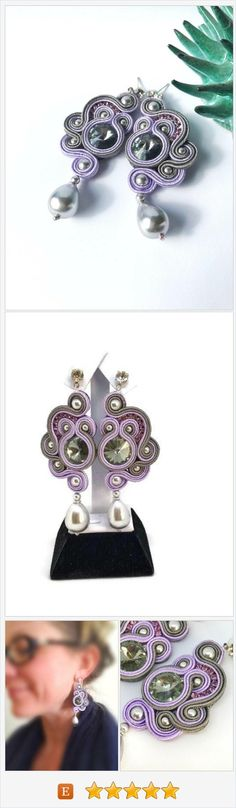 Curl swirl inspirational ceramic earrings Soutache jewelry Dainty statement woman gift Violet crystal textile earrings https://www.etsy.com/it/LeAleCreazioni/listing/563202021/curl-swirl-inspirational-ceramic?ref=shop_home_active_76
