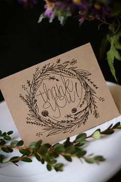 SWEET WREATH Hand Drawn Thank You Note Cards by JuneBrideLettering