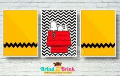 3 Posters com Moldura Snoopy