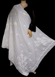 ISHIEQA's White Cotton Chikankari Dupatta - MV1304D White Chiffon, White Cotton, Types Of Stitches, Black B, Thread Work, White Fabrics, Kurti, Hand Embroidery, Ballet Skirt