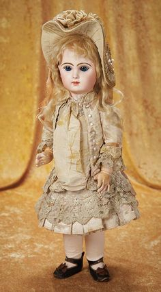 French Bisque Bebe Jumeau in Original Jumeau Dress, Signed Shoes