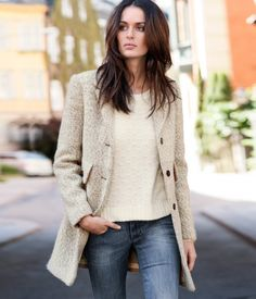 Oatmeal tweed and ivory layers + denim. Casual chic.