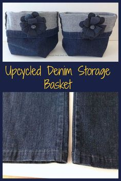 Upcycled Denim Storage Basket These adorable denim storage baskets are easy to make from a pair of old jeansThese adorable denim storage baskets are easy to make from a pair of old jeans Jean Crafts, Denim Crafts, Jeans Recycling, Sewing Crafts, Sewing Projects, Diy Jeans, Denim Bags From Jeans, Denim Purse, Fabric Boxes