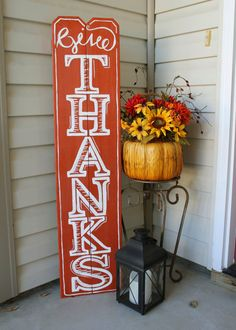 Give Thanks! Warm your home this season and be reminded to GIVE THANKS with this sign. Made from fence posts it stands 48 tall and 11 wide. It makes a great decor piece sitting on the floor or hung on a wall using the saw tooth hook on the back. Thanksgiving Wood Crafts, Fall Crafts, Diy Crafts, Thanksgiving Signs, Holiday Signs, Fall Signs, Holiday Decor, Holiday Ideas, Fence Post Crafts