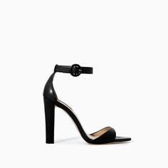 Image 1 of LEATHER WIDE HEEL SANDAL from Zara