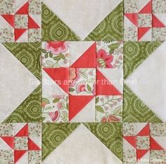 Six Stars are Better Than One quilt block by Kate of Seams Like a Dream ~ What a lovely block! Strong enough to stand on its own as a mini quilt, mug rug or pillow or combined to create a full quilt! The possibilities are endless with thousands of fabrics to choose from at the Fabric Shack at http://www.fabricshack.com/cgi-bin/Store/store.cgi