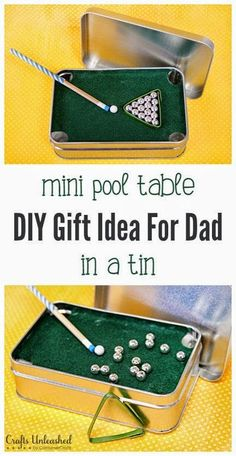 Craft Project Ideas: DIY Gift for Dad: Mini Pool Table in a Tin