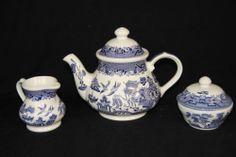 Churchill Blue Willow Porcelain Teapot Sugar and Creamer Tea Set