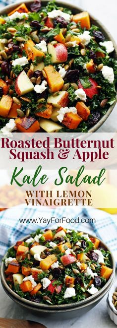 Recipes Vegetarian A delicious and healthy fall harvest salad! This colourful vegetarian salad is filling enough to be a meal and features roasted butternut squash, toasted pumpkin seeds, massaged kale, and a quick homemade lemon dressing! Healthy Salads, Healthy Recipes, Healthy Eating, Kale Salad Recipes, Roasted Kale Salad, Roasted Butternut Squash Seeds, Kale Apple Salad, Massaged Kale Salad, Vegetarian Salad Recipes