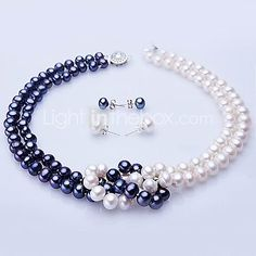White & Blue Freshwater Pearl Necklace & Earring Set 2017 - $59.49