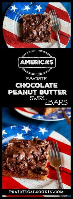 America's Favorite Chocolate Peanut Butter Swirl Bars - Prairie Gal Cookin' #america #america's #favorite #chocolate #peanutbutter #swirl #bars #treat #treat #dessert #easy #simple #prairiegalcookin