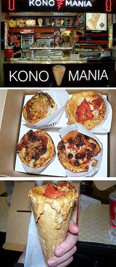 """A pizza cone is easier to eat than an ice cream cone or a regular slice of pizza since the fillings stay inside and don't melt as you eat them. You can try them at Kono """"Mania"""" Pizza."""