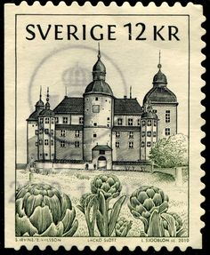 looking at architecture on engraved stamps. Here's a lovely Swedish stamp, issued in 2010 (Facit 2759). One of a set of Swedish castles, it depicts Läckö Castle, one of Western Sweden's most important buildings. Dating originally from the Middle Ages, but much altered over the centuries, Läckö is now a famous masterpiece of the Baroque style. The engraver of the stamp is Lars Sjööblom - there's more information on him below the image.