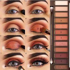 Beste Make-up Hacks Eyeliner Urban Decay Ideen - Beauty Urban Decay Makeup, Maquillage Urban Decay, Urban Decay Naked Heat, Heat Palette Urban Decay, Urban Decay Eyeshadow Palette, Eye Makeup Tips, Makeup Inspo, Eyeshadow Makeup, Eye Makeup Tutorials