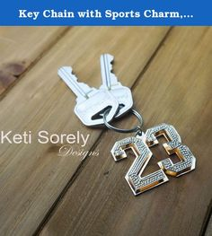 Key Chain with Sports Charm, Gift For Men. Personalized key chain with sport charm. Custom made accessories for men. order any number and it will be handmade just for you. Charm will be made in 3D and will have diamond beading applied on surface (diamond imitation). Charm will have yellow gold and Rhodium overlay. Allow 2-3 weeks for production.