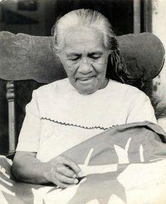 My Great-Grandmother Quilting - Kapa'a, Kaua'i  - Violet Keawe Hii Ku O Kalai Jennie Waiwaiole (Kauhane)