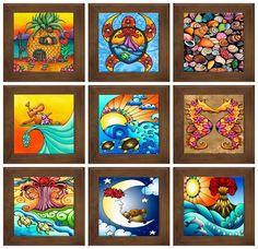 Holly Kitaura Art: Hawaiian Art Framed Ceramic Tiles