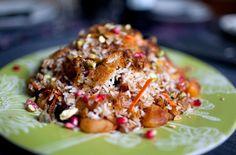 rice: dried apricots, golden raisins, dried sour cherries, saffron ...
