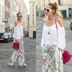 Get this look: http://lb.nu/look/8337661  More looks by Ruxandra Ioana: http://lb.nu/user/1879281-Ruxandra-I  Items in this look:  Sammydress Blouse, Zaful  Pants, Zaful  Necklace   #casual #chic #street