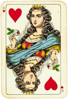 #PlayingCardsTop1000 - Rhineland pattern Dondorf ca 1890 - queen of hearts