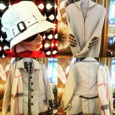 Burberry hat, Burberry sweater, Burberry quilted coat