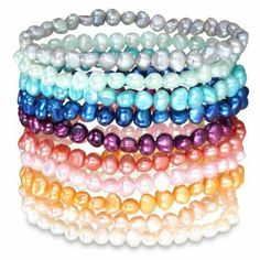 "Freshwater Multi-color Pearl 10 Pieces Set of Elastic Bracelet (5-6mm) 7"" Amour. $26.00"