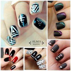 Estilos de #uñas en color negro para lucir elegante y sofisticada. Tus #esmaltes favoritos en www.almashopping.com