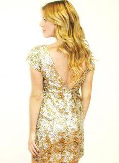 Kami Shade Blair Gold & Silver Sequin Capsleeve V-Back Dress,  Dress, sequin dress  birthday dress  las vegas, Chic