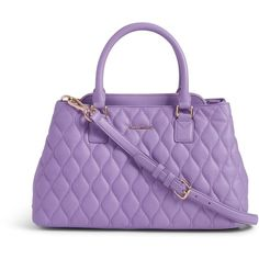 Vera Bradley Quilted Emma Satchel in Lavender ($258) ❤ liked on Polyvore featuring bags, handbags, lavender, vera bradley purses, handbags purses, leather handbags, leather man bag and quilted leather handbags