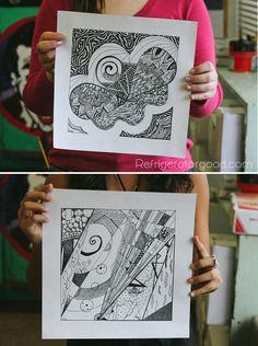 High School Art Lesson: Zentangle Designs: Line