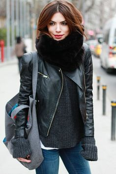 Black leather jacket and dark grey sweater
