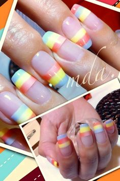 cute pastel striped french mani #fav